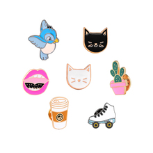9 Style Fashion Cartoon Bird Cute Cat Coffee Potted Plants Shoe Lips Enamel Brooch Pins Denim Jacket Hat Bag Decoration Brooches