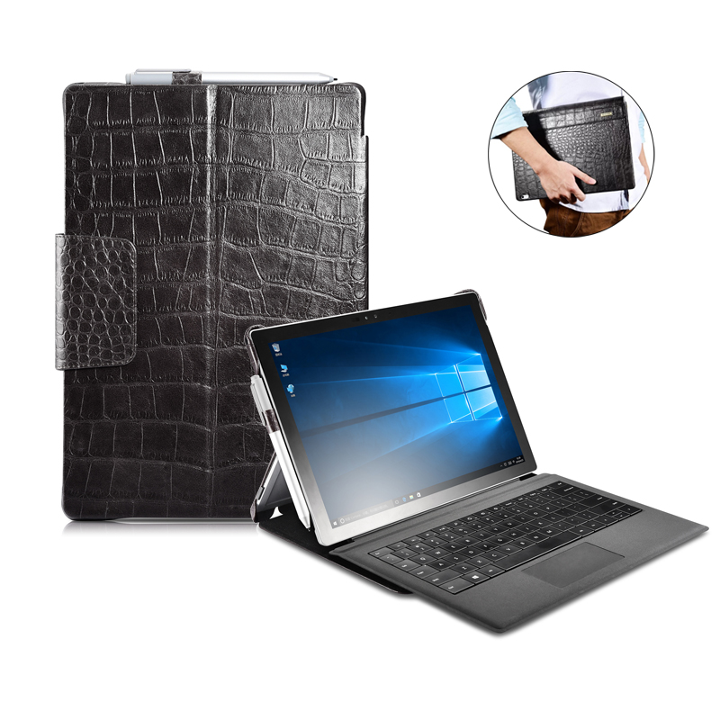 Crocodile Cowhide Genuine Leather Case for Microsoft Surface Pro 4 12.3