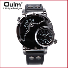 Oulm Watch Man Quartz Watches Top Brand Luxury Leather Strap Military Sport Wristwatch Male Clock relogio masculino