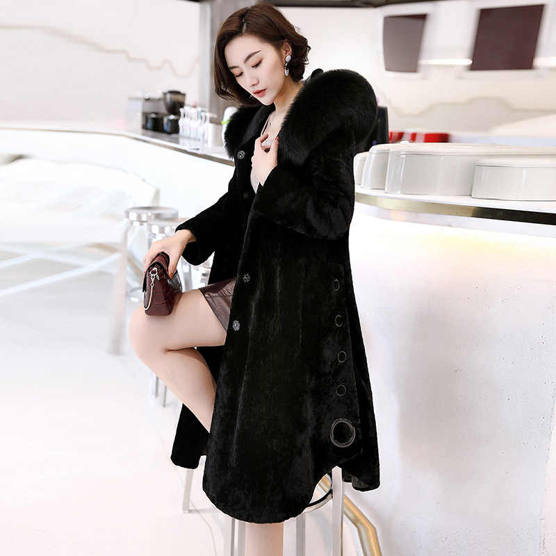 1284766b26c2 ... Winter Autumn Women s Fashion Large Natural Fox Fur Hooded A-Line  Sheared Sheep Wool Coats ...