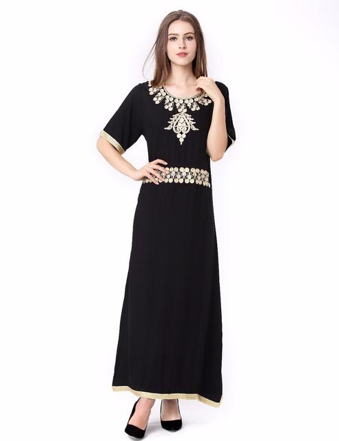 Vestuário islâmico para as mulheres abaya muçulmano manga Comprida Vestido preto dubai Kaftan marroquino Caftan Abaya Islâmico árabe robe 1624