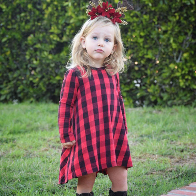 0815499b660e Cute Toddler Kids Girls Dress 2018 Spring Long Sleeve Red Plaid ...