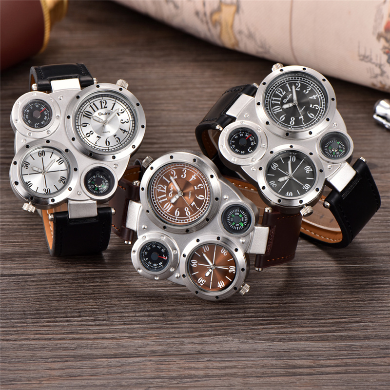 Oulm Male Watch Decorated Thermometer Compass Unique Designer Luxury Brand Men's Sport Watches Two Time Zone Men Wristwatch