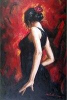Spanish Dancer Gypsy Flamenco Woman Large Oil Painting