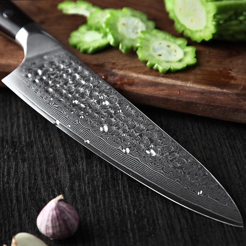 """XINZUO 8.5 """"سكين الطاهي 62 Hrc عالية الكربون VG10 دمشق الصلب اكسسوارات المطبخ Gyotou سكين أفضل هدية السكاكين الأبنوس مقبض-في سكاكين مطبخ من المنزل والحديقة على  مجموعة 3"""