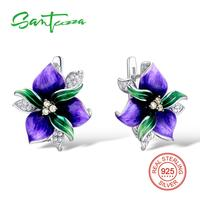 SANTUZZA Silver Flower Earrings For Women 925 Sterling Silver Earrings Silver 925 Cubic Zirconia brincos Jewelry Enamel