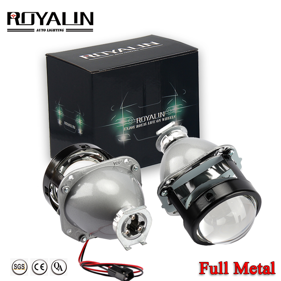 ROYALIN Car Styling Halogen Lens Full Metal H1 Mini HID Bi Xenon Strålkastare Projektor Lens 2.5 H4 H7 Auto Mini Gatling Gun Masks