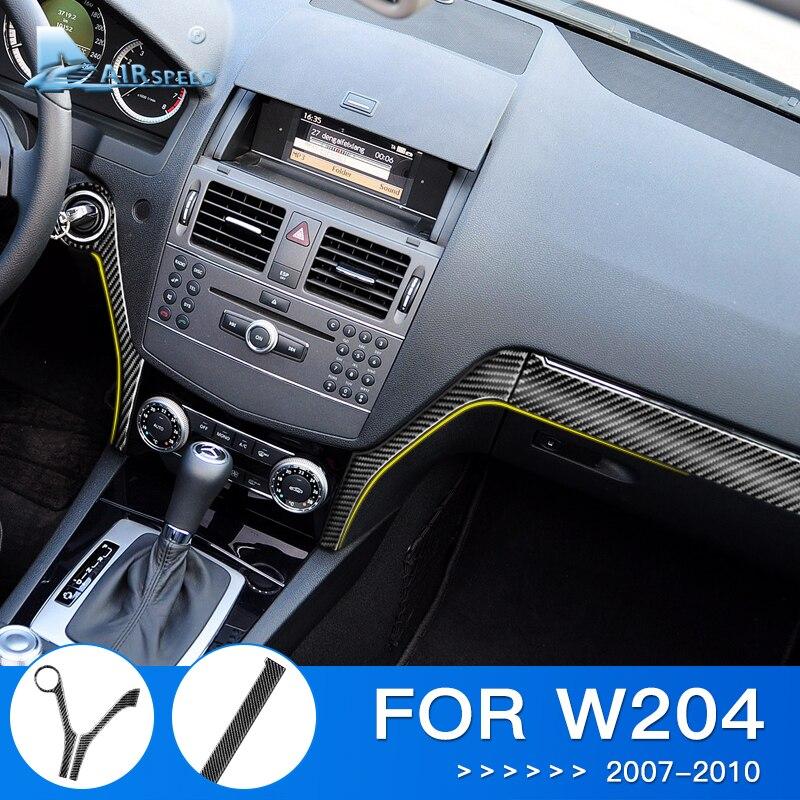 Airspeed LHD For W204 Mercedes Benz Sticker For Mercedes Benz W204 Accessories Carbon Fiber Interior Trim Center Console Sticker