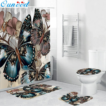 Butterfly Pattern Bathroom Curtain Set Made With PVC Mesh Bottom For Bathroom Decorate