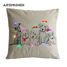 Christmas Flax Printed LED Pillow Case Santa Claus Flag Horse Anchor Dog Cushion PillowCover Decorative Covers Home use