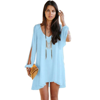 Wholesale Hot Sale New Fashion V Neck Casual Loose Irregular Mini Dresses Size S M L