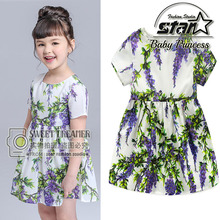 Lavender Print Short Sleeve Flowers O-Neck Lace Tulle Ball Gown Baby Clothes Princess Dress Party Dress Summer Party Dress