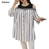 Fashion Striped Oversized Shirts For Pregnant Women Off Shoulder Maternity Blouse Three Quarter Sleeves Robe De