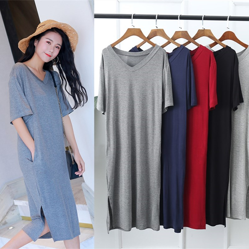 Women Nightgowns Summer Sleepwear Casual Night Dresses Plus Size Short Sleeve Slit Dresses Women Loose Nightdress Home Clothes