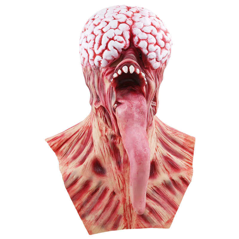 New Creative Brain Long Tongued Halloween Monster Scary Mask Latex Devil Masks Masquerade Party Silicone Horror Zombie Terror