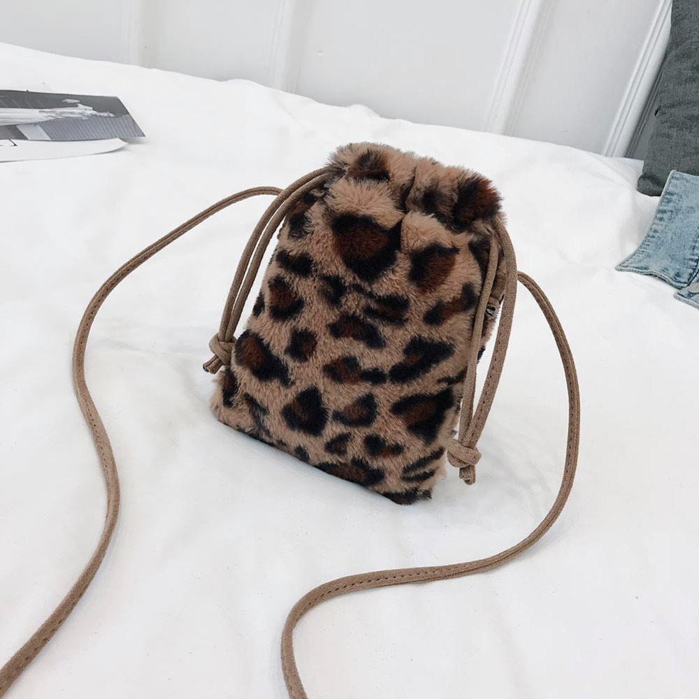 Detail Feedback Questions about Women Mini Leopard Drawstring Bag Soft  Fabric Plush Messenger Bag Shoulder Packs Winter Warm Shopping Handbags  Feminina ...
