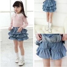 Милые летние юбки деним со складками для девочек, трехслойная шорты-юбка с оборками для детей, новое поступление 2014(China (Mainland))