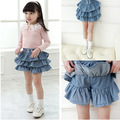 New Summer Children Girls Lovely Pleated Skirts Kids Girl Denim 3 Layers Cake Pantskirt Ruffles Culotte Skirt