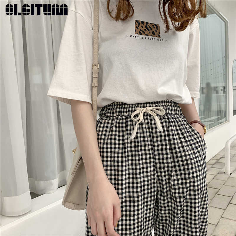Hot 2019 New Fashion Black White Plaid Harem Pants Women Spring Casual Cotton Linen Pants Loose Drawstring Plaid Pants Female