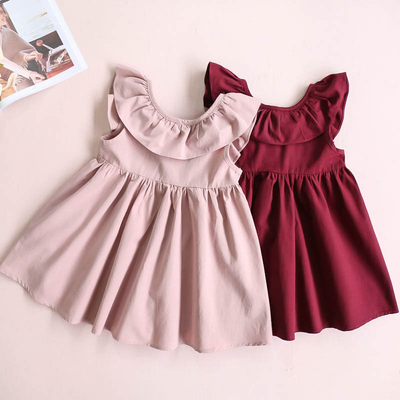 2-6 years baby girl dress summer sleeveless solid bow tie a line ruffle v neck backless clothing for kids