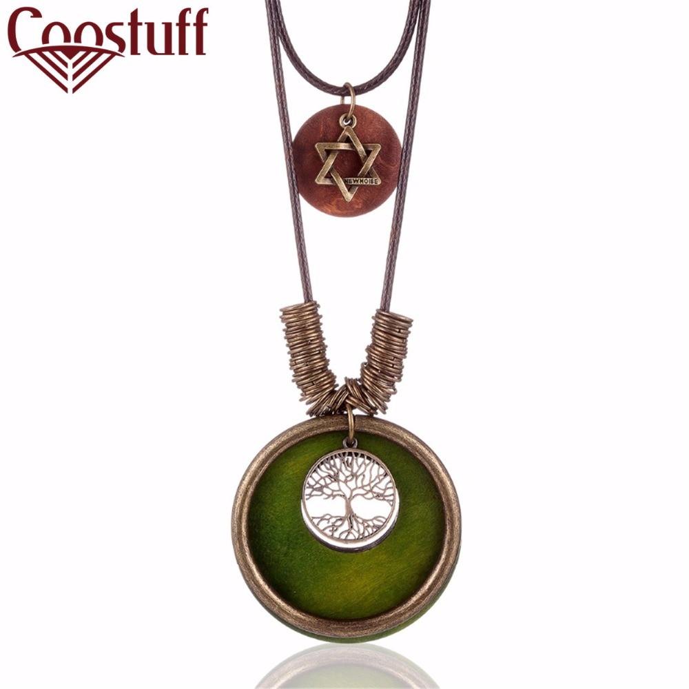 New Arrival vintage Choker kvinna halsband Mode smycken Trä Tree Tag hänge Långt halsband för kvinnor collares mujer kolye