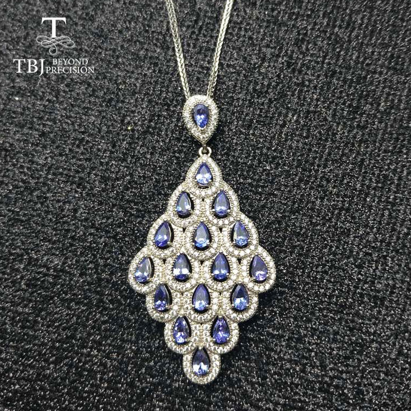 TBJ ,High quality luxury natural 4a color tanzanite pendant necklace in 925 sterling silver gemstone jewelry best gift for lady