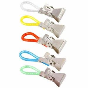 Image 5 - 5pcs Tea Towel Hanging Metal Clips 2x2.5x1.5cm Metal Clip On Hooks Loops Hand Towel Hanging Clips For Kitchen Bathroom Beach
