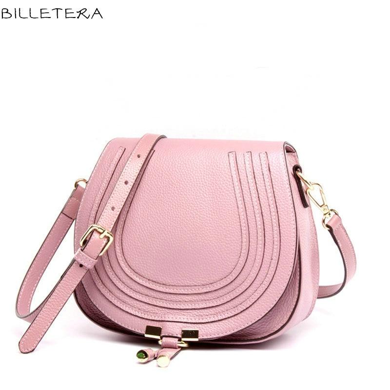 ФОТО BILLETERA Lovely Women Shoulder Bag Genuine Leather Women Messenger Bag Handbag CrossBody Saddle Lady Bags