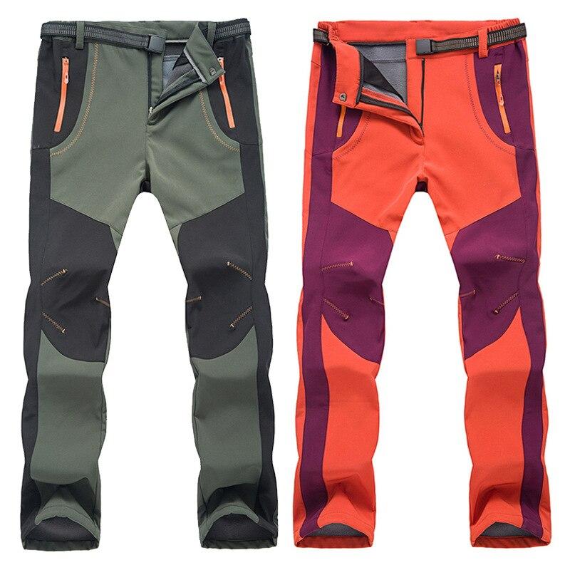 2018 Nouveau Hiver Hommes Femmes Randonnée Pantalon Extérieur Softshell Pantalon Imperméable Coupe-vent Thermique Pour Camping Ski Escalade Brillant