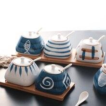 1 шт., сахарница для дома, кухня, керамика для соли и специй, горшок для приправ, баночки с ложкой