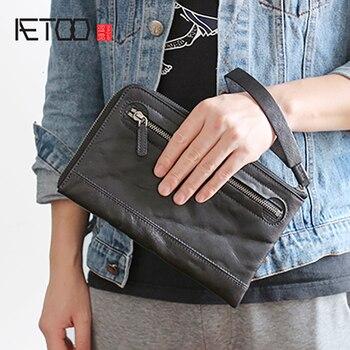 AETOO Tanning cowhide handbag men's leather retro wrist bag high-grade multi-card zipper hand Grab Bag