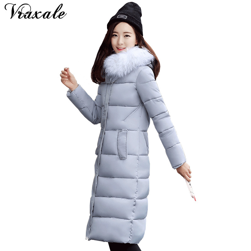 Vraxale Winter Cotton-padded Long Jacket 2017 New Women Large Fur Collar Hooded Thickening Warm Winter Coat Slim Women Parkas qazxsw 2017 new winter cotton coat women slim hooded jacket two sides wear long parkas fur collar winter padded abrigos hb339