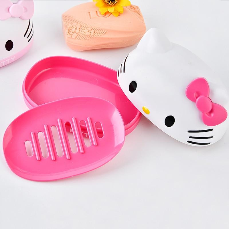 Ciao scatola del sapone del gattino Supporto del sapone del fumetto Piatto di plastica del piatto di sapone Accessori di immagazzinaggio del bagno 2B