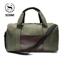Scione Canvas Simple Travel Luggage Handbags Solid Durable Duffel Shoulder