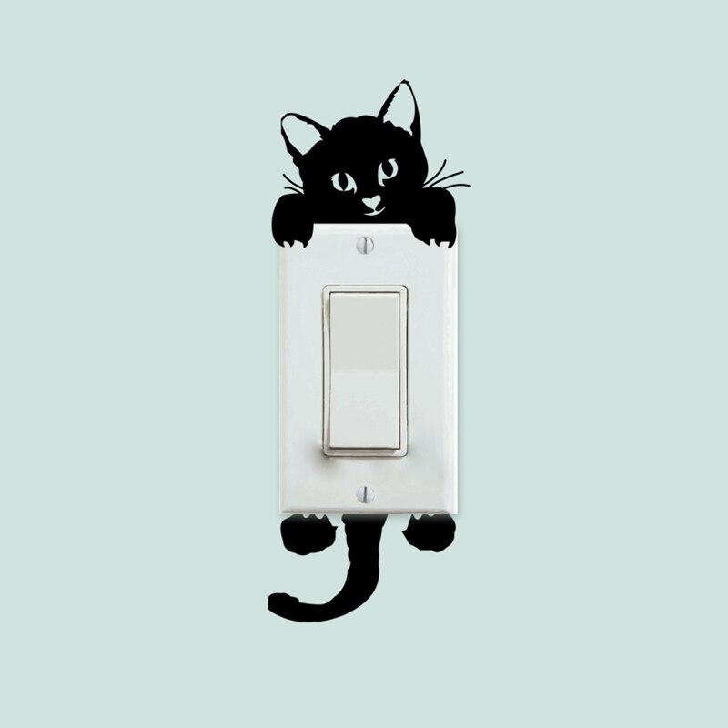 DIY Engraçado Bonito Gato Interruptor Adesivos de Parede Adesivos Decoração Do Quarto Salão de Decoração de Casa adesivo na parede