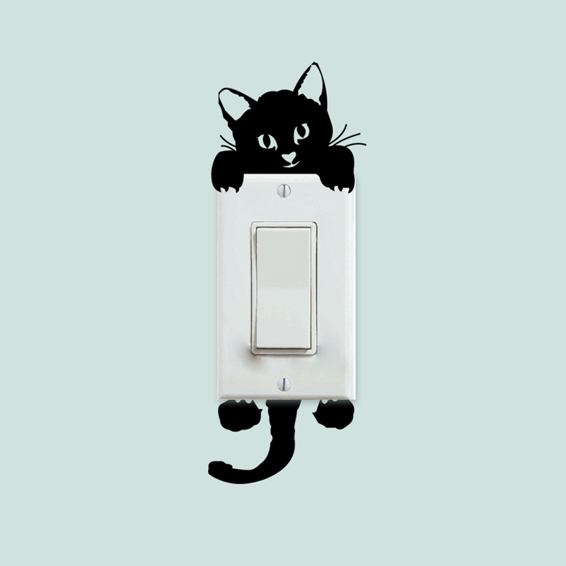 DIY Funny Cute Cat Switch Stickers Wall Stickers Home Decoration Bedroom Parlor Decoration Sticker On The Wall