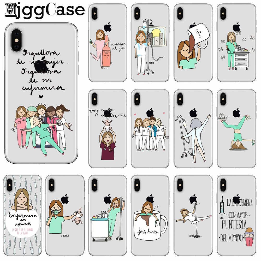Cute Funny Cartoon Medicine equipment Nurse Doctor stethoscope Cover Case For Coque iPhone 7 8 6 6S Plus 5S SE X XS MAX XR Cover