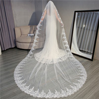 Fishday 2019 Appliqued Bridal Wedding Veil Beads Stone Girls Long 3.5m White Accessories Woman Femme With Clip D30