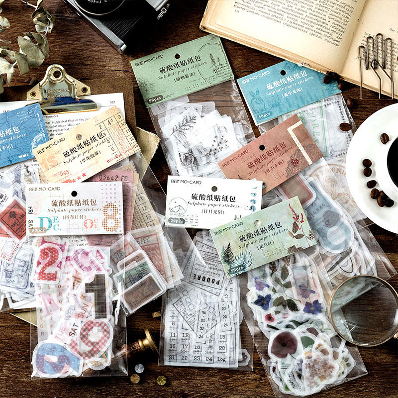 50 Pcs/pack Vintage Coffee Flower Butter Paper Sticker Decoration DIY Album Scrapbooking Label Translucent Travel Diary Sticker