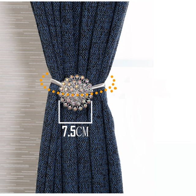 Crystal Curtain Straps Creative European Decorative Curtain Buckle Free Punch Hook Wall Hook Magnet Strap 1PCS