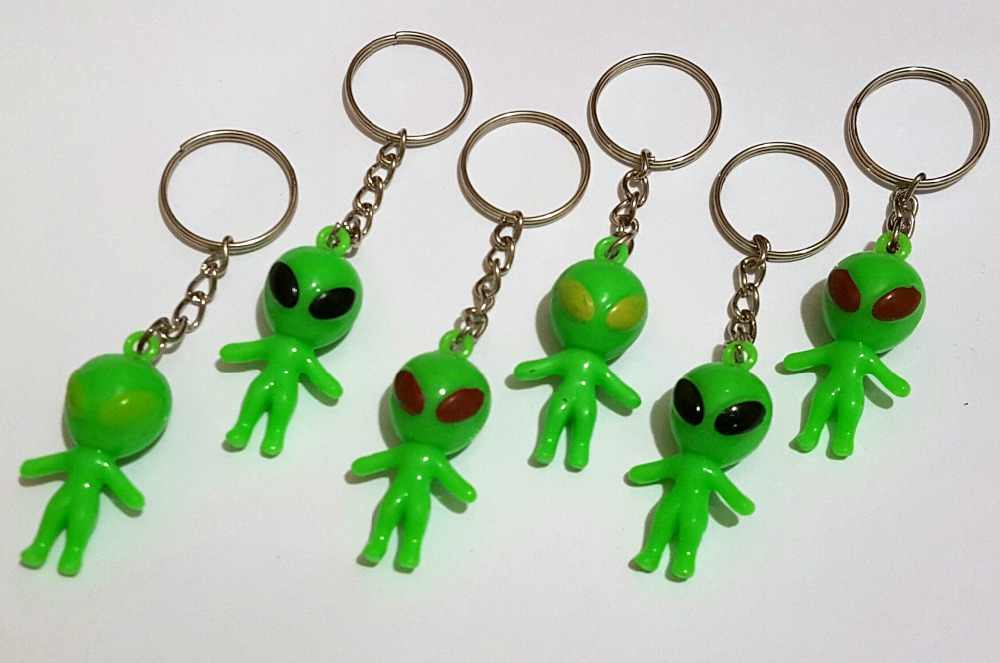 6 Key Ring w/ Alien 511 Boys Kids Vintage Charm Fashion Favour Pinata Filler School Bag Birthday Party Favors Gift Novelty Prize