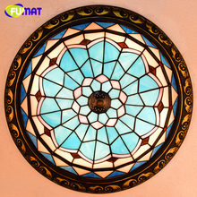 FUMAT Glass Art Ceiling Lamp Vintage Creative Glass Lamp For Living Room Stained Glass LED E27 Baroque Bed Room Ceiling Lamps