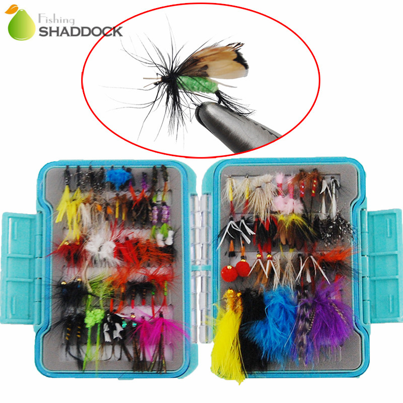 Shaddock Fishing 94pcs/set Dry Flies Fly Fishing Lures Trout Feather Tying Fly Fishing Hooks Set With Box wifreo 10pcs 10 black zebra mosquito fly trout fishing dry flies fly fishing bait lures