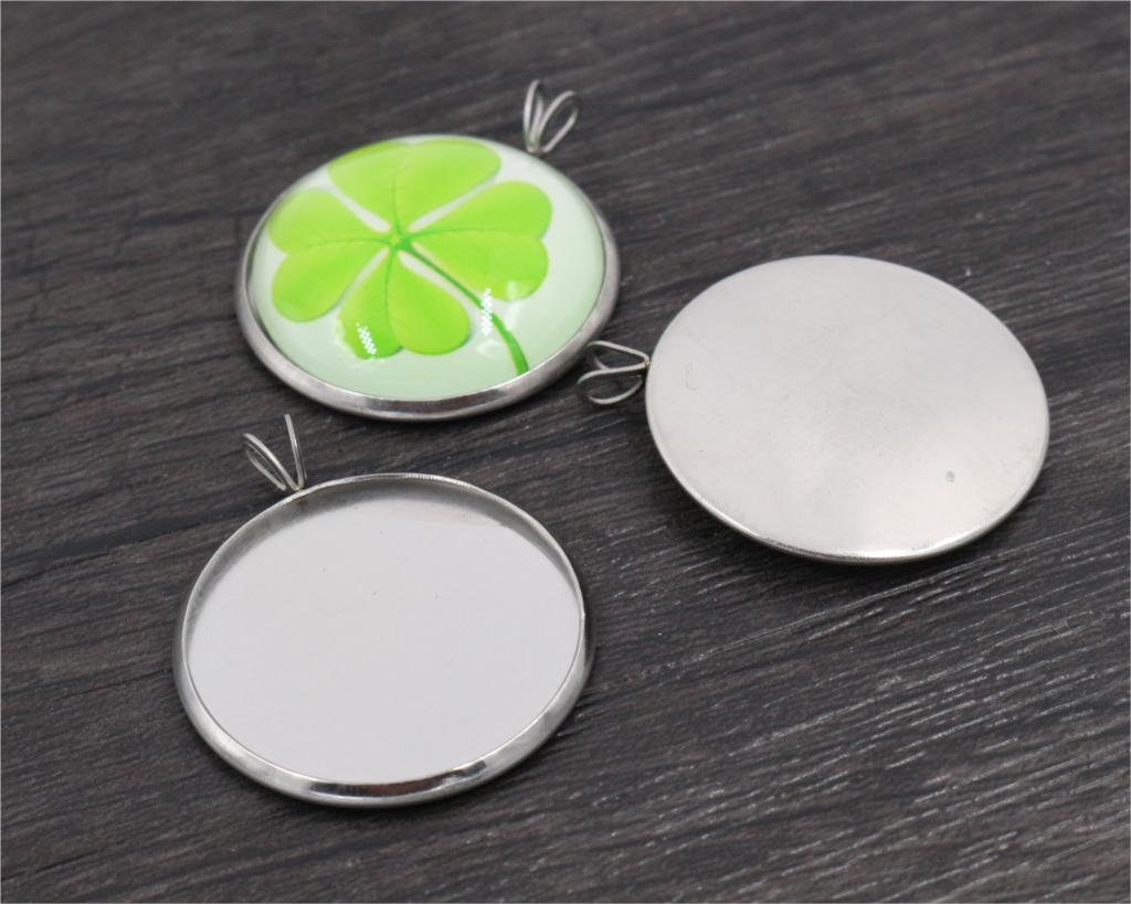( No Fade ) 10pcs 25mm Inner Size Stainless Steel Material Simple Style Cabochon Base Cameo Setting Charms Pendant Tray-T5-01