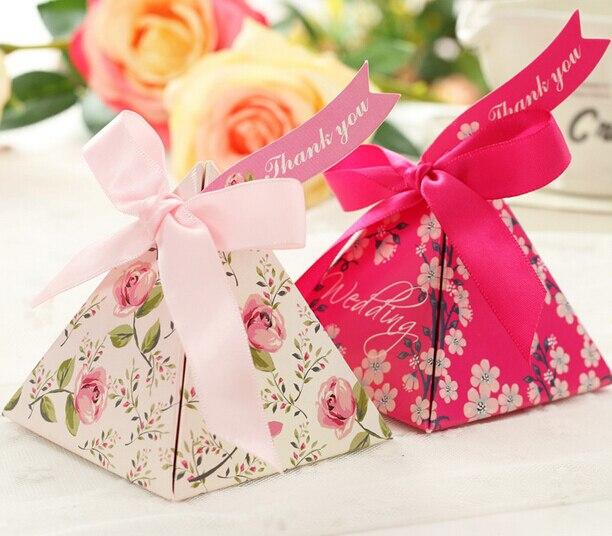 50 Pcs Bela Flor Imprimir Triangular De Favores Do Casamento Caixas