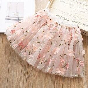 Image 5 - Flower Embroidery Kids skirts for Girls Pettiskirt Children Mesh Skirt Princess Baby tutu skirts Spring and summer