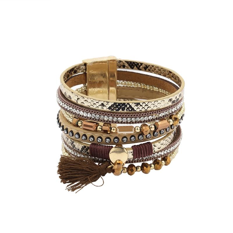 Bracelet PU Leather Bracelets & Bangles For Women Pulseira De Couro Feminina Crystal Snake Skin Magnetic Handmade Pulseras Mujer