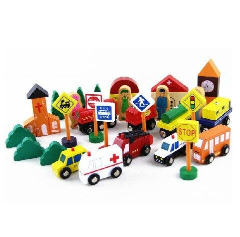 ФОТО free shipping  32pcs/set big wooden blocks solid wood child city traffic blocks  Urban Transport Blocks child  gift  toys