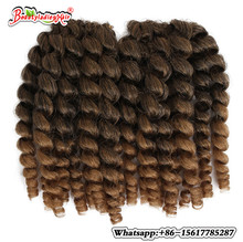6Pack  Low Temperature Fiber Jumpy Wand Curl Crochet Twist Braids Hair 8Inch Short African Synthetic Braiding Style