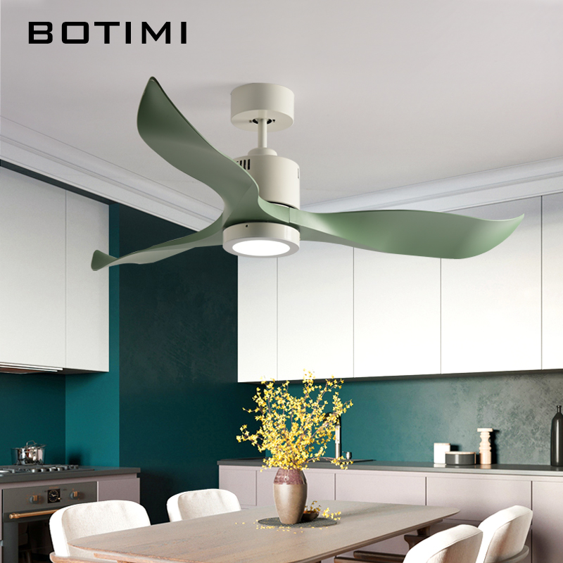 BOTIMI New Arrival 52 Inch LED Ceiling Fan Modern Fan Lights Remote Cooling Ceiling Fans Home Lighting Fan Lamps Fixtures computador cooling fan replacement for msi twin frozr ii r7770 hd 7770 n460 n560 gtx graphics video card fans pld08010s12hh